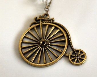 Vintage-Style Bicycle Pendant Necklace with Crystal Embellishment Bronze or Silver Steampunk Victorian Inspired Necklace Ladies Jewelry