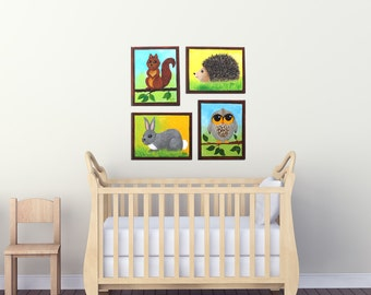 Wall Art for Kids, Woodland Animal Set of 4, Animal Paintings for Childrens Room or Nursery