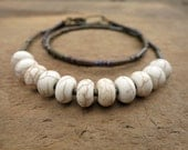 Rustic White Magnesite Necklace, white turquoise everyday Bohemian beaded necklace in neutral bone white and brown