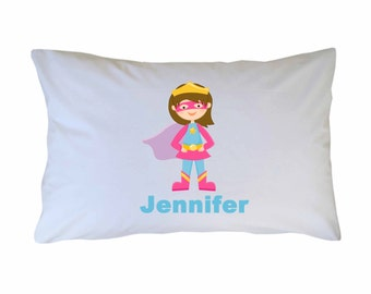 Personalized Superhero Pillow Case for Girls, Travel or Standard Size