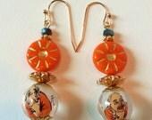 Unique Mandarin Orange Chinese Reverse Painted Glass Bead, Hand Painted Bead Earrings,Orange Jewelry, Orange and Gold,