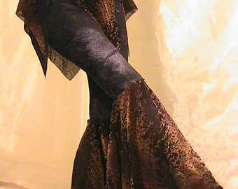 ATS, Tribal, Festival and Flamenco Flare Pants & skirt Set  in Black velvet and Gold and Brown Fall print