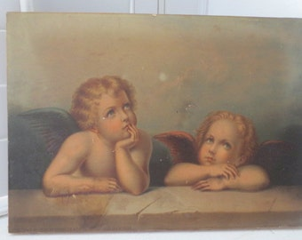 Antique Victorian Oilette PRINT on Canvas Raphael CHERUBS Angels Circa late 1800s As Is