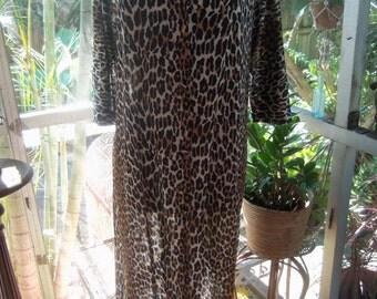 60s VANITY FAIR--Leopard Print Lounger--Thinnest Nylon Jersey