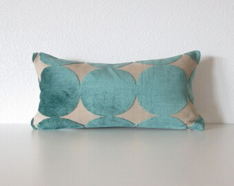 Dwell studio Plush Dotscape Peacock 8x16 velvet turquoise decorative pillow cover