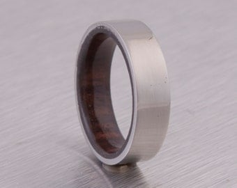 Titanium Ring Man Ring Mens Wood Band  with wood and Titanium ring flat profile band