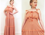 Vintage 1970s Peach Summer Dress / 70s Party Dress with Ruffles / Small to Medium