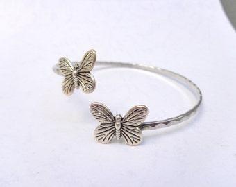 butterfly bracelet  wrap butterfly jewelery. nature bracelet, animal bracelet, charm bracelet, bangle