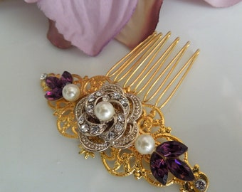 Pearl Hair Comb,Bridal Pearl crystal Hair Comb,Wedding Rhinestone Hair Comb,Purple Hair Comb,Ivory or White Pearl,Amethyst,Purple,ROSELANI