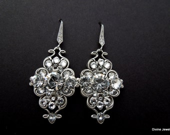 bridal rhinestone earrings crystal wedding earrings swarovski crystal earrings rhinestone earrings chandelier rhinestone earrings CLAUDE