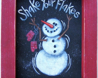 Snowman, Shake Your Flakes Sign, Tole Painting Pattern, DIY, Winter Scene, White Snowman with Red Mittens, Instructional Pattern, Winter