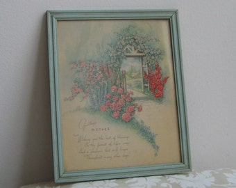 Vintage Mother Motto Wall Art Print Poem In Baby Blue Wood Frame By Donald Art Co. USA, Cottage Flowers Garden Path Trellis