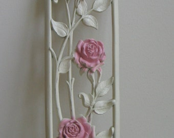 Mid Century Roses Wall Art Plaque Pink Ivory by Dart Industries, Vintage Shabby Cottage Floral Flowers Home Decor