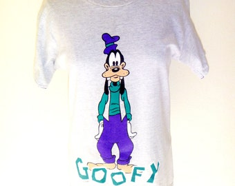 Vintage 90's Hip Goofy Bro Graphic T-Shirt in Purple and Teal by Disney Women's Medium