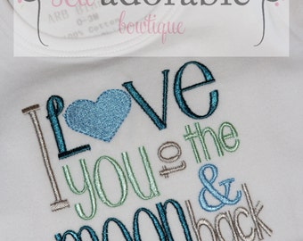 I Love you to the moon and back shirt or bodysuit, Coming Home Outfit, Gender Neutral Newborn Outfit
