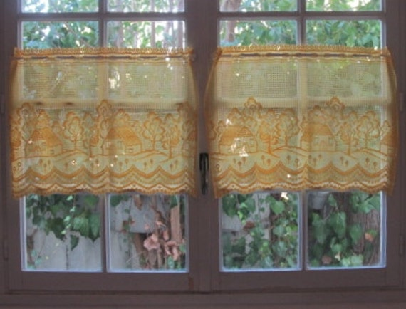 Cafe Curtains Pair Yellow Sheer Lace Panels With Cottage