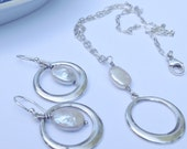 White Freshwater Pearl & Sterling Silver Chain Necklace Set