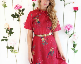 Mulberry Maggie, Vintage, 1970s Wine Floral Midi dress, from Paris