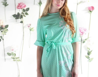 Minell, Vintage, 1970s Floral Mint Green Polka Dot Long Sleeve Dress, from Paris