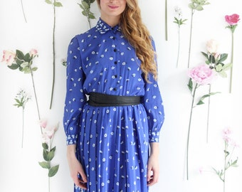 Bluebell, Vintage, 1970s Blue Floral Long Sleeve Dress, from Paris