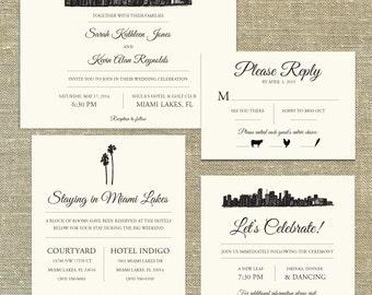 Miami Skyline Destination Wedding invitation; SAMPLE ONLY