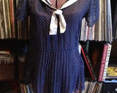 SALE Vintage Sheer Sailor Pleated Blouse Dress