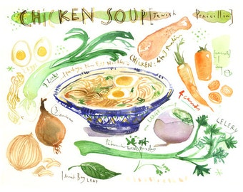 "Chicken soup watercolor recipe painting, ""Jewish penicillin"" poster print, Kitchen print, Food art, Wall art print, Kitchen decor 8X10 print"