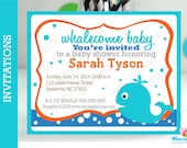 Whale Invitations, Set of 12 Handmade Whale Baby shpwer Party Inspired Invitations  A1068