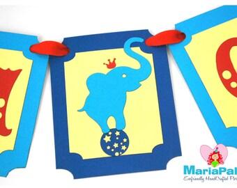 Circus Banner, Vintage Circus Birthday, Elephant High Chair Banner, Handmade Banner,  I am age banner, I am one, High Chair Banner  A1028