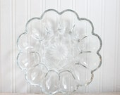 Vintage Deviled Egg Plate, Clear Daisy Shaped  Anchor Hocking Glass, Flower Shaped Egg Tray, Mid Century Entertaining, Easter Brunch
