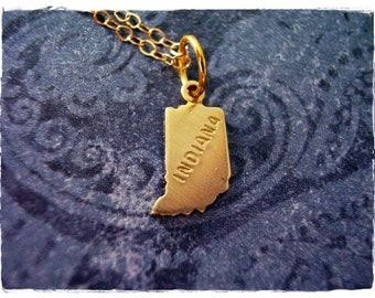 Tiny Gold Indiana State Necklace - Raw Brass Indiana Charm on a Delicate 14kt Gold Filled Cable Chain or Charm Only