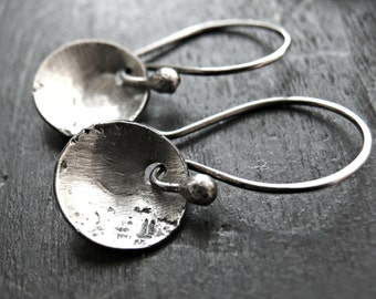Sterling Silver Rustic Earrings - Sterling Silver Textured Earrings - Hammered Metal