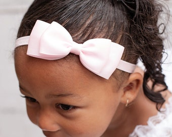 Pink Baby Headband, Light Pink Satin Bow Headband, Pink Bow Headband, Flower Girl Hair Accessories, Baby Girls Hair Accessories, Pink Bow