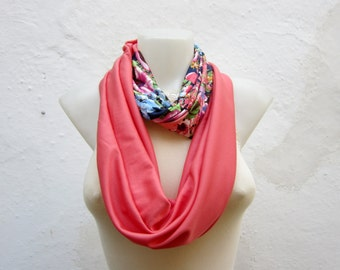Circle Scarf, Infinity Scarf, Loop scarf, Tube Scarf, Women Scarf, Flower Neckwarmer, Green Peach Orange Pink