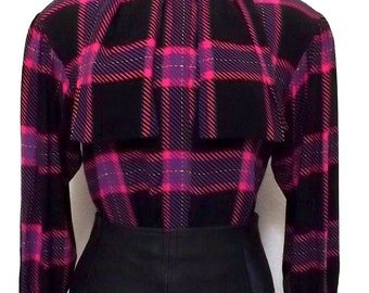 Vintage Tartan Plaid Blouse - Scarf Tie Shirt Black, Bright Pink & Purple - Small