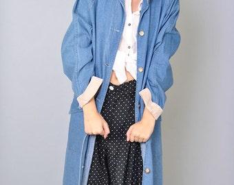 Vintage Denim Coat 80s Jean Trench Minimalist Jacket Corduroy  Collar Cuff LL Bean M L