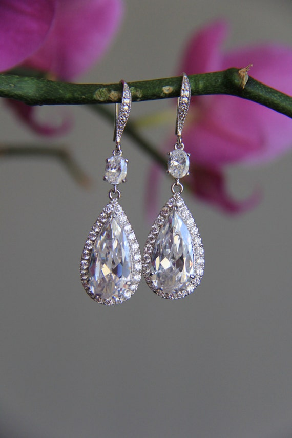 sparkly chandelier dangley bridal earrings wedding earrings