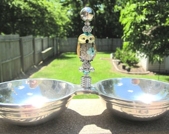 Handmade Lampwork Glass Owl Beaded Double Serving Dish - Owl by Artist DeniseAnnette - One of  kind, unique gift