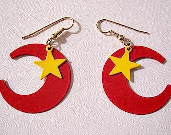 Red Moon Yellow Star Pierced Wire Earrings Gold Tone Vintage Open Crescent Dangles