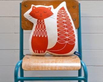 Hand Screen Printed Cat Pillow in Burnt Orange