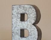 "Sale 6"" LARGE METAL LETTER Zinc Steel Initial Home Room Decor Signs Letter Galvanized Vintage Style Silver Monogram Alphabet Rustic Wedding"