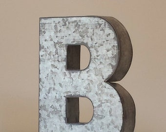 sale 6 large metal letter zinc steel initial home room decor signs letter galvanized vintage style silver monogram alphabet rustic wedding