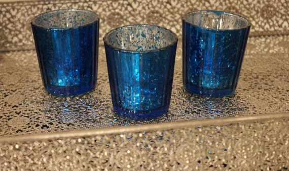 Set of 10 MERCURY GLASS BLUE Cobalt Navy Dark by TheFulfilledShop