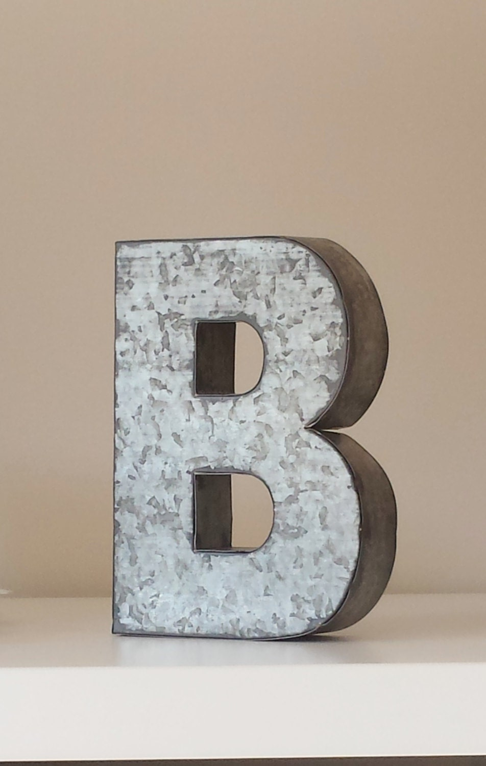 Sale 6 large metal letter zinc steel initial home room for Large metal monogram letters