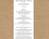 Delicate Long Wedding Menus - Set of 25