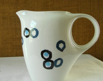 VINTAGE WHITE BLUE Dot Noritake Nippon Porcelain China Pitcher Mid Century Modern Nippon White Pitcher Abstract Art N Noritaki Toki Kaisha