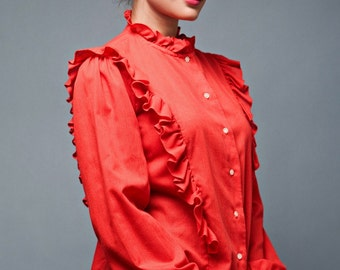 """vintage 70s red top blouse ruffles high collar long sleeves L (42"""" bust)"""