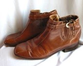 Vintage 1970's Brown Leather Mens Ankle Boots 9.5 Medium Shoes 10 Harness Slip-In