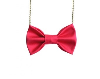 Deep Pink Bow Tie Necklace - For Casual Wear , Party, Prom, Bridesmaids Women Bowtie