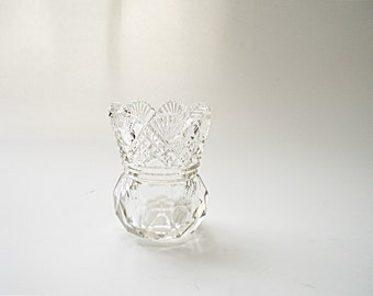 Miniature Cut Glass Vase Cut Glass Toothpick Holder Crystal Toothpick Holder Bud Vase